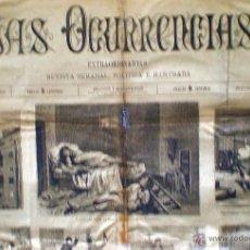 Coleccionismo de Revistas y Periódicos: MADRID JULIO 1883.-LAS OCURRENCIAS- EXTRAORDINARIAS. 1 HOJA, 2 PÁGINAS MODELO GRANDE 70 X 51 CM. . Lote 41293134