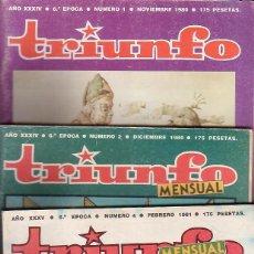 Coleccionismo de Revistas y Periódicos: REVISTA TRIUNFO 6ª EPOCA , LOTE DE 3 EJEMPLARES ( AÑOS 80 ). Lote 41637192