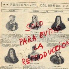 Coleccionismo de Revistas y Periódicos: PERSONAJES CELEBRES 1907 POETAS-MUJERESCIENTIFICOS HOJA REVISTA. Lote 42054067