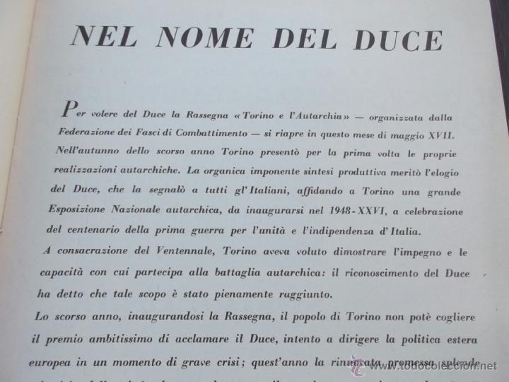 Coleccionismo de Revistas y Periódicos: FASCISMO: TORINO E LAUTARCHIA, Partito Nazionale Fascista, 1939, Cubierta Nico Edel Fotografias - Foto 3 - 42186881