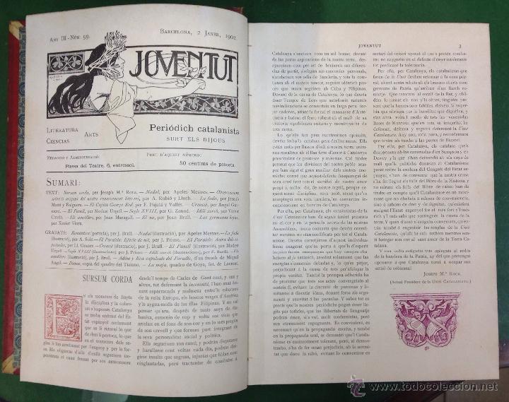 Coleccionismo de Revistas y Periódicos: REVISTA JOVENTUT. PERIODICH CATALANISTA. ANY 1902. ART CIENCIA LITERATURA. - Foto 2 - 42276861