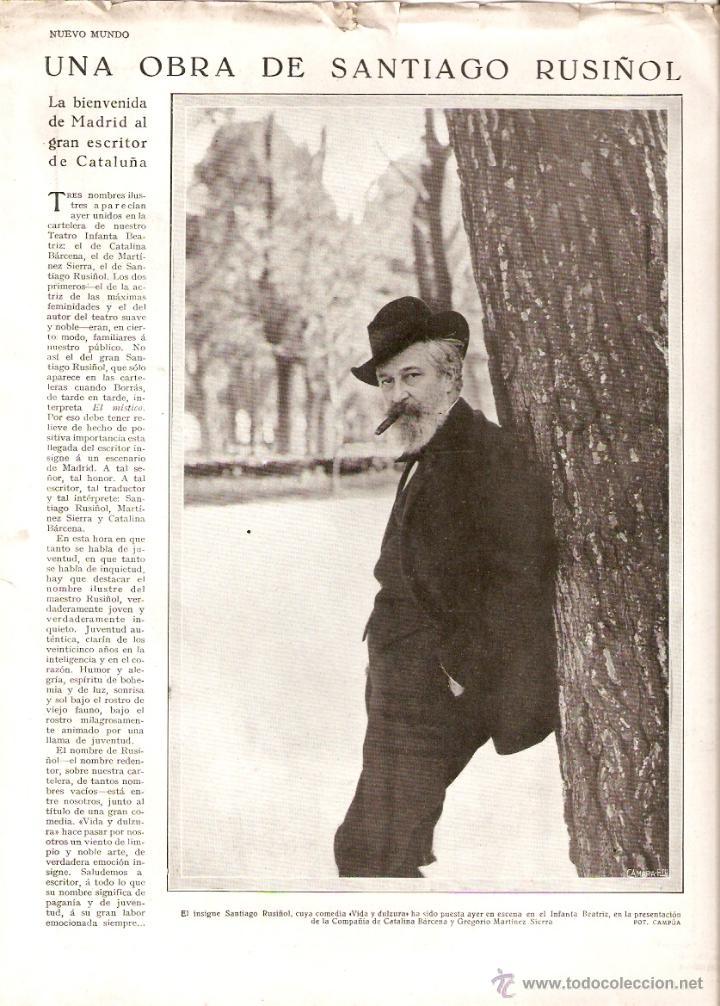 AÑO 1930 RECORTE PRENSA EXITO MADRID SANTIAGO RUSIÑOL HOMENAJE BENITO PEREZ GALDOS ALVAREZ QUINTERO (Coleccionismo - Revistas y Periódicos Modernos (a partir de 1.940) - Otros)