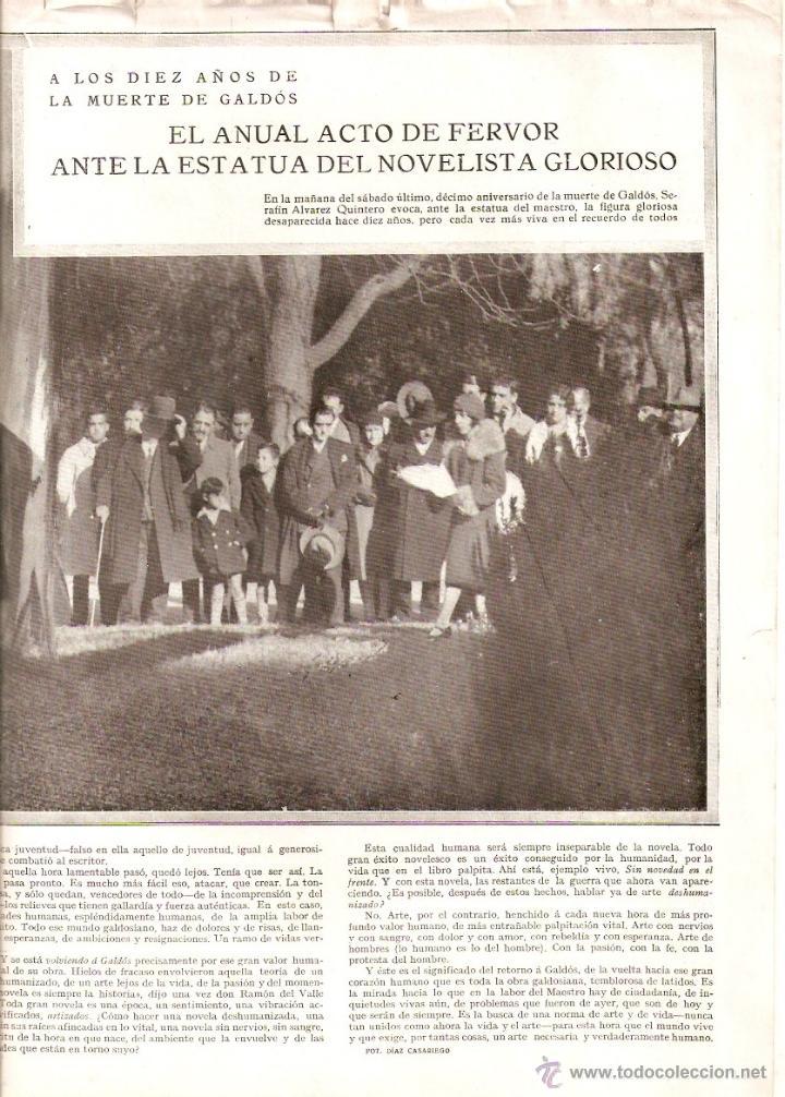 Coleccionismo de Revistas y Periódicos: AÑO 1930 RECORTE PRENSA EXITO MADRID SANTIAGO RUSIÑOL HOMENAJE BENITO PEREZ GALDOS ALVAREZ QUINTERO - Foto 3 - 42407275