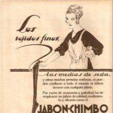 Coleccionismo de Revistas y Periódicos: AÑO 1927 RECORTE PRENSA PUBLICIDAD JABON CHIMBO. Lote 42461071