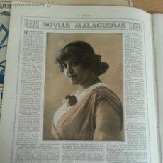 Coleccionismo de Revistas y Periódicos: HOJAS REVISTA LA ESFERA. 1915 - NOVIAS MALAGUEÑAS , FEDERICO GARCIA SANCHIZ , FOT. FHOTO HALL. Lote 42719908
