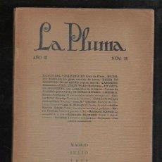 Coleccionismo de Revistas y Periódicos: LA PLUMA. AÑO III. Nº 26. VALLE-INCLAN, RICARDO BAROJA, DIEGO DE MENDOZA, CARDENIO. LEER. Lote 43194775