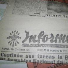 Coleccionismo de Revistas y Periódicos: INFORMACION ALICANTE 1949 DIARIO DE FALANGE PERIODICO . Lote 43426047