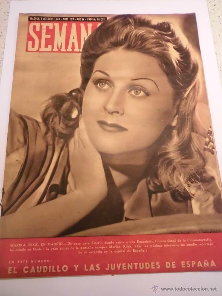 REVISTA SEMANA - NUM 189 AÑO IV - OCTUBRE 1943 (Coleccionismo - Revistas y Periódicos Modernos (a partir de 1.940) - Otros)