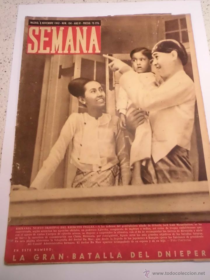 REVISTA SEMANA - NUM 194 AÑO IV - NOVIEMBRE 1943 (Coleccionismo - Revistas y Periódicos Modernos (a partir de 1.940) - Otros)