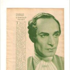 Coleccionismo de Revistas y Periódicos: AÑOS 30 CINE RECORTE PRENSA CONRAD VEIDT ACTOR. Lote 43821414