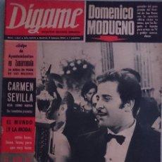 Coleccionismo de Revistas y Periódicos: REVISTA DIGAME 1966. DOMENICO MODUGNO, CARMEN SEVILLA MILAGROS LEAL, GERALDINE CHAPLIN. Lote 188024370