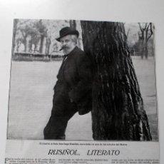 Coleccionismo de Revistas y Periódicos: ENTREVISTA DE PRENSA ORIGINAL DE 1915 AL ILUSTRE SANTIAGO RUSIÑOL. Lote 44080083