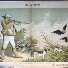 Coleccionismo de Revistas y Periódicos: EL MOTIN , Nº 46 , 1884 , SIGLO XIX , IZQUIERDISTAS CAZA REPUBLICANOS , CARTEL LITOGRAFIA, ORIGINAL. Lote 44303167