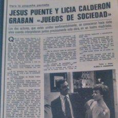 Coleccionismo de Revistas y Periódicos: RECORTE JESUS PUENTE LICIA CALDERON. Lote 44375558