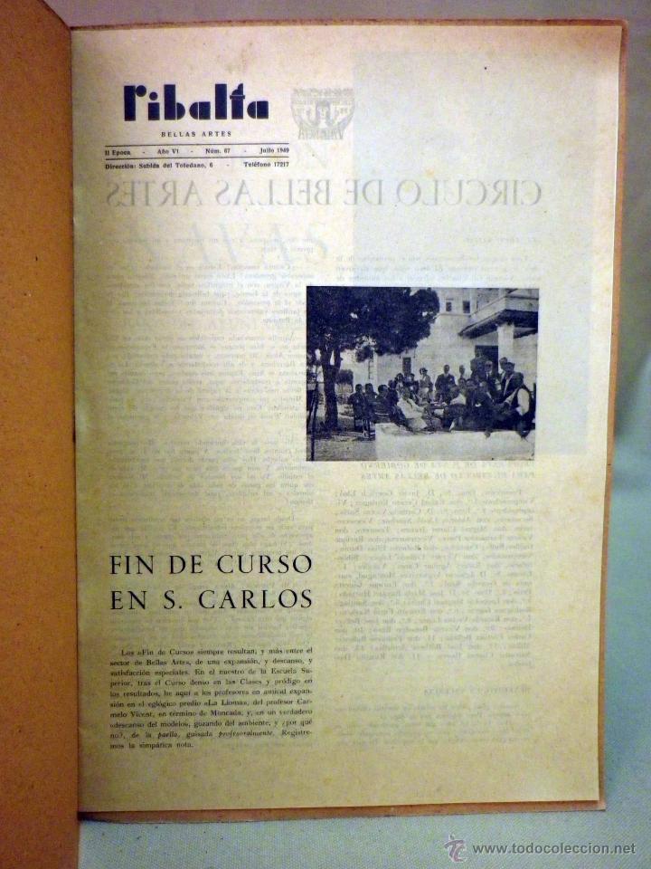 Coleccionismo de Revistas y Periódicos: REVISTA RIBALTA, CIRCULO BELLAS ARTE, Nº 67, JULIO DE 1949, VALENCIA, NAVAS - Foto 2 - 44708575