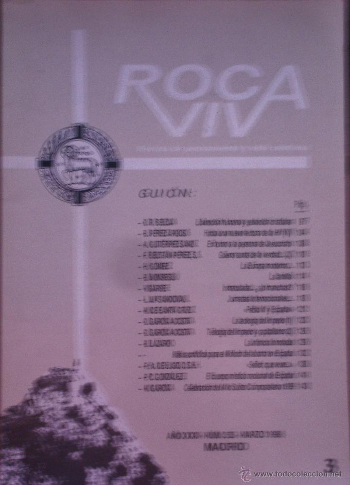 ROCA VIVA. 350. REVISTA MENSUAL DE PENSAMIENTO Y VIDA CRISTIANA. B. MONSEGÚ, B. PÉRES ARGOS Y OTROS (Coleccionismo - Revistas y Periódicos Modernos (a partir de 1.940) - Otros)