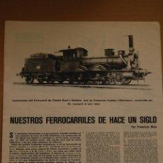 Coleccionismo de Revistas y Periódicos: RENFE -ARTICULO REVISTA ANTIGUA- 2 PAG. MAG. FOTOS - NUESTRO FERROCARRIL HACE UN SIGLO AÑO 1969. Lote 44920512