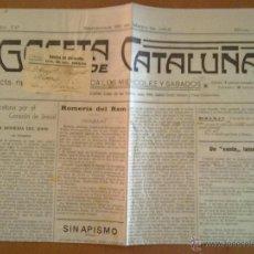 Coleccionismo de Revistas y Periódicos: GACETA DE CATALUÑA AÑO IV Nº 292 25 MAYO 1912 35 X50 CM (APROX) 4 PAGINAS. Lote 45050830