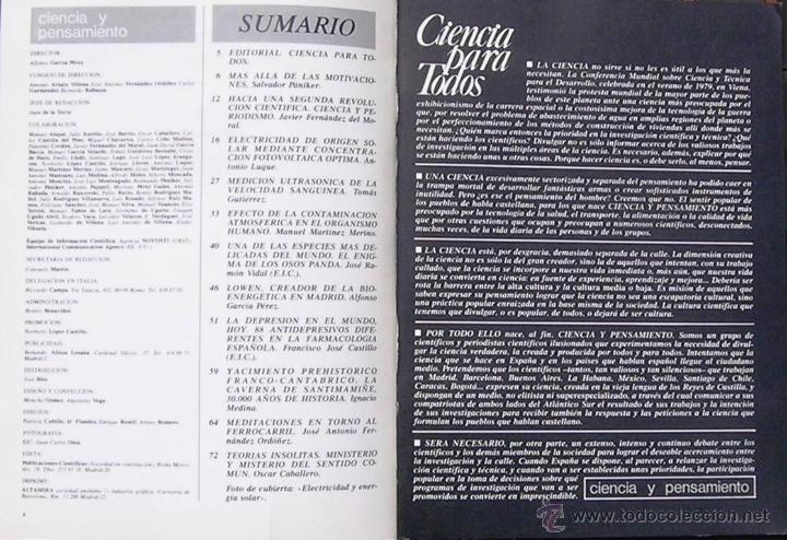Coleccionismo de Revistas y Periódicos: ciencia y pensamiento, Nº 1 REVISTA 1980 - Foto 2 - 45108224