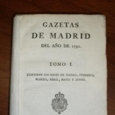 Coleccionismo de Revistas y Periódicos: 1791 - GAZETA DE MADRID - AÑO COMPLETO 104 NÚMEROS GACETA. Lote 45171593