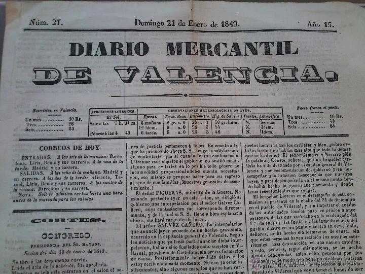 Diario mercantil de valencia a o 1849 buen esta comprar revistas y peri dicos antiguos en - Periodico levante el mercantil valenciano ...