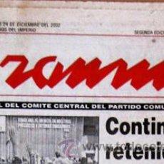 Coleccionismo de Revistas y Periódicos: DIARIO 'GRAMMA', DEL PC DE CUBA --- 24-12-2002 --- SEMBLANZAS BIOGRÁFICAS DE FIDEL Y RAÚL CASTRO. Lote 45233280