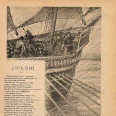 Coleccionismo de Revistas y Periódicos: COLÓN / VERSOS DE SINESIO DELGADO, DIBUJO DE ESTEVAN - 1899. Lote 45260367