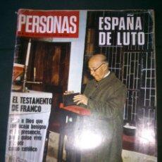 Coleccionismo de Revistas y Periódicos: REVISTA PERSONAS.Nº107 ESPAÑA DE LUTO EL TESTAMENTO DE FRANCO. Lote 45285994