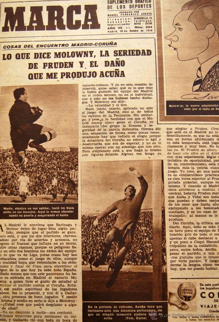 Coleccionismo de Revistas y Periódicos: DIARIO DEPORTIVO MARCA - 28 OCTU 1946 - Nº204 - POSTER DE MEDIA PAGINA DEL LEVANTE U.D.... - Foto 5 - 45381736