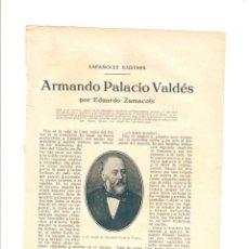 Coleccionismo de Revistas y Periódicos: AÑOS 20 RECORTE PRENSA REPORTAJE ARMANDO PALACIO VALDES ENTRALGO MUÑECA SARITA. Lote 45598258