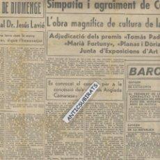 Coleccionismo de Revistas y Periódicos: DIARI ANY 1938 BOMBARDEIG DE GANDIA PINTURA GUERRA CIVIL ANGLADA CAMARASA PLANAS DORIA PADRO FORTUNY. Lote 45646980