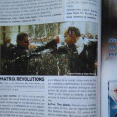 Coleccionismo de Revistas y Periódicos: RECORTE KEANU REEVES MATRIX. Lote 46000460