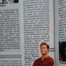 Coleccionismo de Revistas y Periódicos: RECORTE PATRICK SWAYZE. Lote 46005958