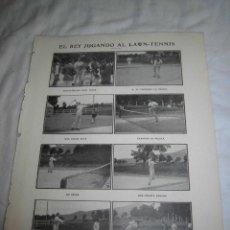 Coleccionismo de Revistas y Periódicos: EL REY JUGANDO AL LAWN-TENNIS HOJA REVISTA BLANCO Y NEGRO 1906. Lote 46092057