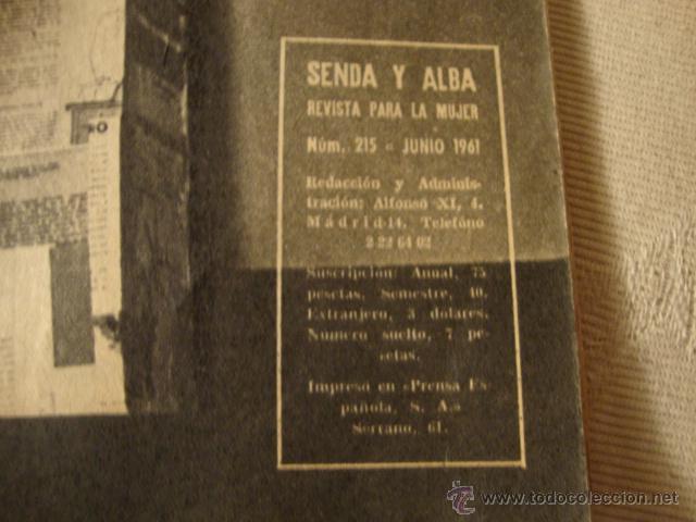 Coleccionismo de Revistas y Periódicos: REVISTA SENDA Y ALBA Nº 215 1961 AZAFATAS AVION TWA LA50 - Foto 2 - 46109958