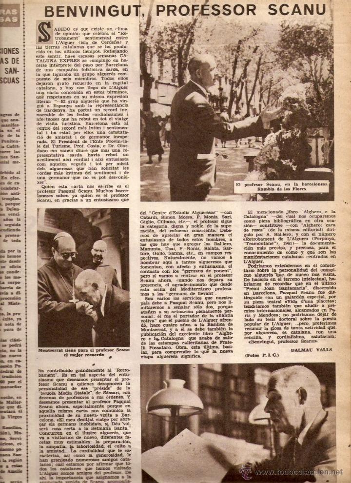 AÑO 1962 ALGUER PROFESOR SCANU SOLIUS SANT AMANÇ THARRATS ARTE NARCIS OLLER JOAN MONES PASCUA FATJO (Coleccionismo - Revistas y Periódicos Modernos (a partir de 1.940) - Otros)