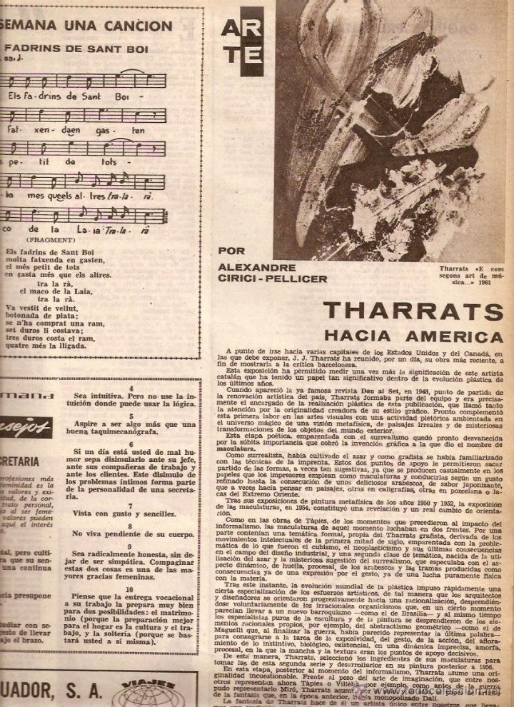 Coleccionismo de Revistas y Periódicos: AÑO 1962 ALGUER PROFESOR SCANU SOLIUS SANT AMANÇ THARRATS ARTE NARCIS OLLER JOAN MONES PASCUA FATJO - Foto 3 - 46305120