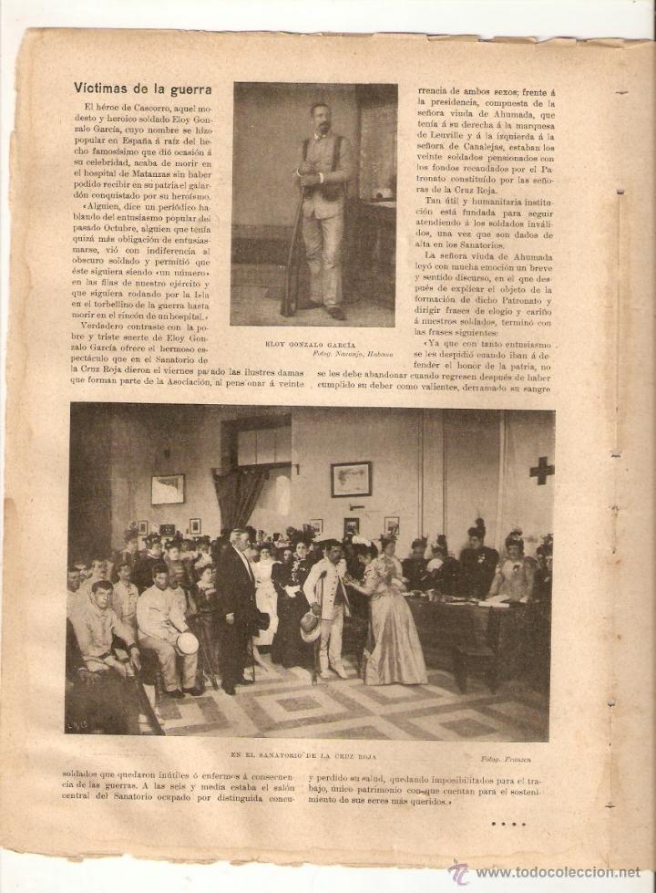 1897 ESCULTURA JOSE MONTSERRAT LAVANDERA SAGASTA ELOY GONZALEZ HEROE CASCORRO GUERRA CUBA CRUZ ROJA (Coleccionismo - Revistas y Periódicos Antiguos (hasta 1.939))