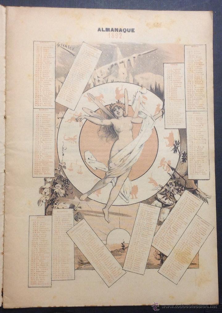 Coleccionismo de Revistas y Periódicos: ALMANAQUE DE BARCELONA CÓMICA PARA 1892. ILUSTRACIÓN DE PORTADA DE ESCALER. - Foto 2 - 46559295