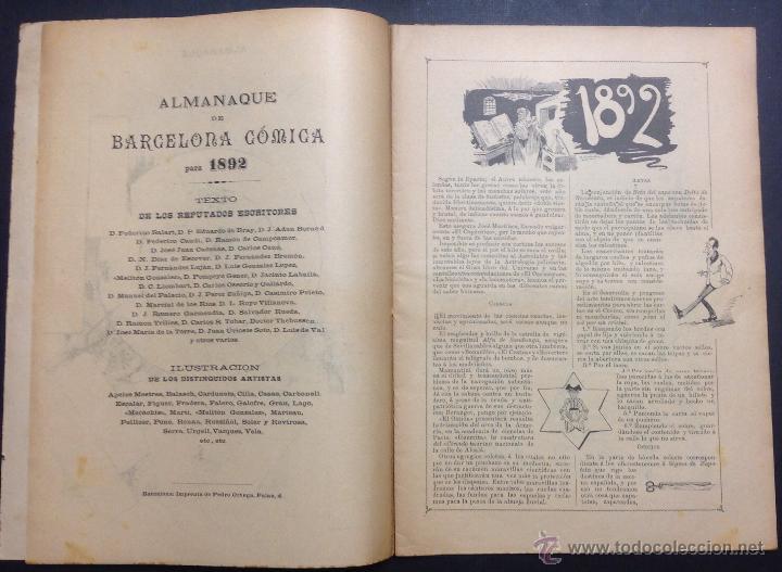 Coleccionismo de Revistas y Periódicos: ALMANAQUE DE BARCELONA CÓMICA PARA 1892. ILUSTRACIÓN DE PORTADA DE ESCALER. - Foto 3 - 46559295