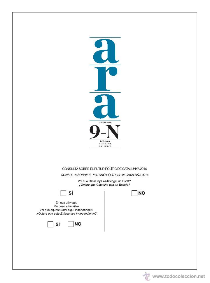 Coleccionismo de Revistas y Periódicos: Diari ARA [9 de Noviembre de 2014][Número 1.431][Consulta catalana 9N] - Foto 2 - 46570948