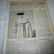 Coleccionismo de Revistas y Periódicos: TORERO ENRIQUE VARGAS (MINUTO) HOJA REVISTA BLANCO Y NEGRO 1911 . Lote 47011576