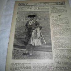Coleccionismo de Revistas y Periódicos: TORERO FRANCISCO CARRILLO HOJA REVISTA BLANCO Y NEGRO 1911 . Lote 47017127