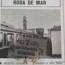 Collezionismo di Riviste e Giornali: RECORTE FOTO 1970 - NUEVO APEADERO EN RODA DE BARA RODA MAR - FERROCARRIL RENFE TREN TRANVIA. Lote 47025439