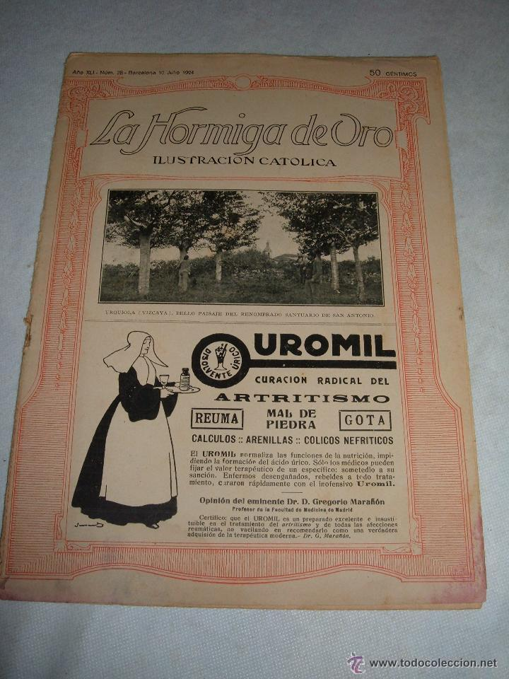 REVISTA LA HORMIGA DE ORO ILUSTRACIÓN CATÓLICA Nº 28 BARCELONA 1924 (Coleccionismo - Revistas y Periódicos Antiguos (hasta 1.939))