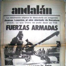 Coleccionismo de Revistas y Periódicos: PERIÓDICO ANDALÁN. Nº323. JUNIO 1981. FUERZAS ARMADAS. OTAN. LA NEUMONÍA ATÍPICA. JIMENEZ LOSANTOS. Lote 47300145