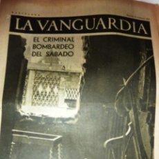 Coleccionismo de Revistas y Periódicos: LA VANGUARDIA 1937 . 4 PÁG GUERRA CIVIL . BOMBARDEO DE BARCELONA . MITIN FRENTE DE JUVENTUD REVOLU. Lote 47396304