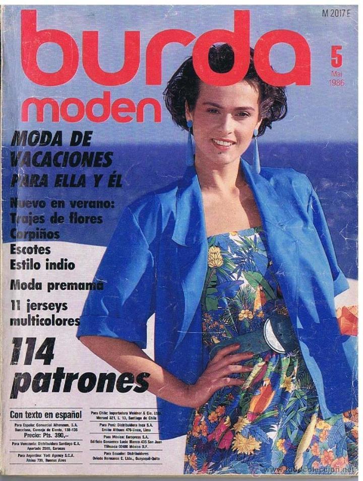 b51874ae0 REVISTA BURDA - PRIMAVERA 1986- CON PATRONES E INSTRUCCIONES PARA LA  CONFECCIÓN DE MODELOS.