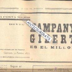 Coleccionismo de Revistas y Periódicos: PERIODICO RADICAL LA VOZ DE MANRESA AÑO 1934 XAMPANY GIBERT ARTES CAVA CHAMPAGNE . Lote 47475179
