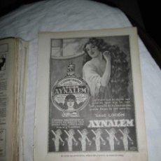 Coleccionismo de Revistas y Periódicos: LOCION AYNALEM RESTAURADOR Y VIGORIZADOR DEL CABELLO HOJA REVISTA NUEVO MUNDO 1922. Lote 47613020
